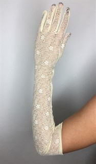 Длинные перчатки из трикотажа с кружевом. Светло-желтые