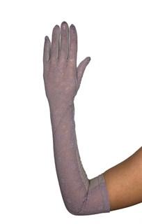 Длинные перчатки из трикотажа с кружевом. Мокко