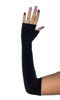 Длинные перчатки из велюра без пальцев. Черные