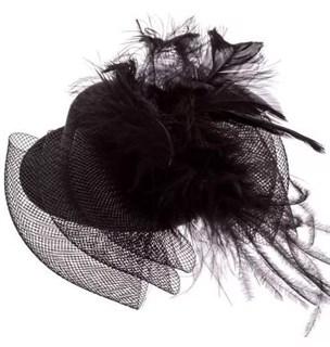 Маленький цилиндр с перьями черный