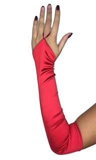 Длинные атласные перчатки на один палец. Красные