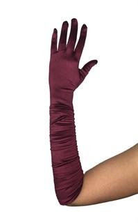 Атласные перчатки со сборкой до локтя. Темно-бордовые
