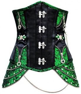 Зеленый корсет под грудь с замками и молниями