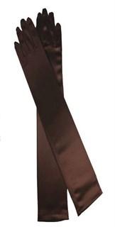 Длинные коричневые атласные перчатки. 50 см
