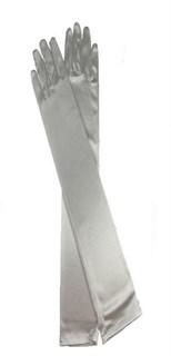 Длинные атласные серые перчатки. 50 см