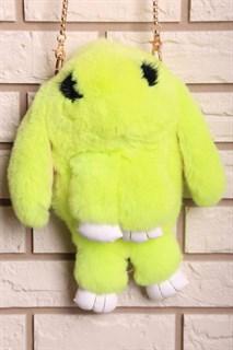 Сумка рюкзак зайка (кролик) из натурального меха. Желтый