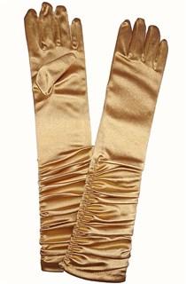 Атласные детские перчатки со сборкой. 3-7 лет. Золотые