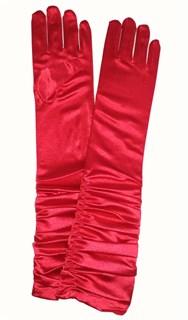 Атласные детские перчатки со сборкой. 3-7 лет. Красные