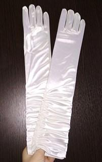 Атласные детские перчатки со сборкой. 8-13лет. Белые
