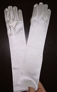 Атласные детские перчатки. 8-13лет. Айвори