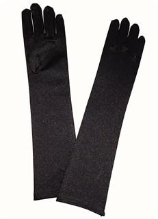 Атласные детские перчатки. 3-7 лет. Черные