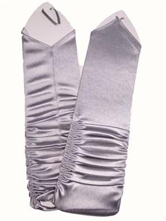 Атласные перчатки со сборкой без пальцев. 8-13 лет. Серые