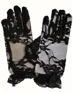 Гипюровые короткие перчатки с рюшей. 6-13 лет. Черные
