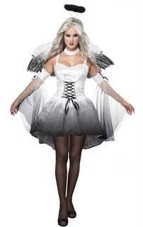Черно-белый костюм ангела с большими крыльями