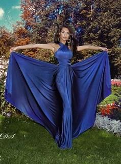 Платье трансформер из темно-синего масла. Юбка солнце с разрезом