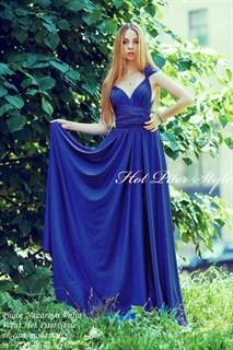 Темно-синее платье трансформер с разрезом