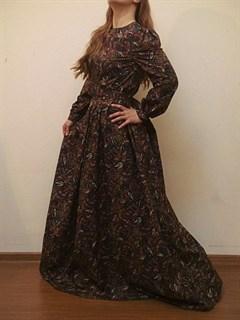 Коричневое платье в пол с рукавами