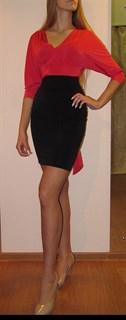 """Офисное платье футляр """"летучая мышь"""". Красный"""