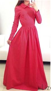 Платье в пол из красного хлопка в белый горошек
