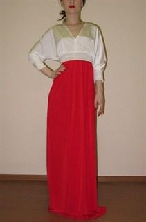 """Платье в пол """"летучая мышь"""" с красной юбкой. 258"""