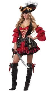 Красное платье пиратки с камзолом