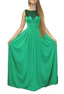 Зеленое платье в пол с кружевом на груди. 259