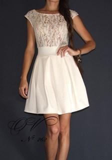 Молочное платье с прозрачным верхом А-силуэт. 262