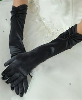 Перчатки по локоть со сборкой. Черные