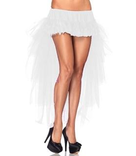Кружевная мини юбка с длинным хвостом из сетки. Белый