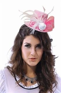 Розовая шляпка цилиндр с бантом