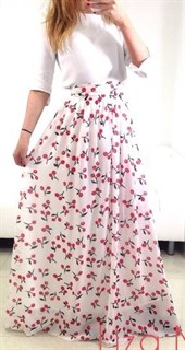 Шифоновая юбка в пол молочного цвета с вишенками