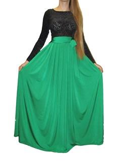 Зеленое платье в пол, верх из панбархата