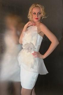 Белое коктейльное платье Jovani 9571