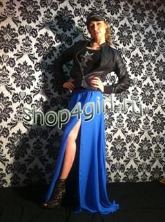 Шифоновая юбка в пол с разрезом. Синий цвет