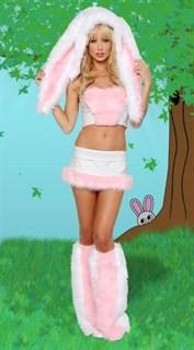 Карнавальный костюм розовой зайки с огромными ушами