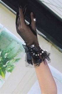Черные прозрачные перчатки с бантиком и рюшами