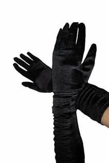 Черные атласные перчатки по локоть со сборками