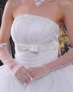 Длинные прозрачные белые перчатки по локоть
