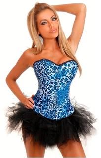 Ярко-синий корсет с леопардовым принтом