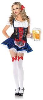 Маскарадный костюм баварской девушки, декорирован цветочками и алой лентой
