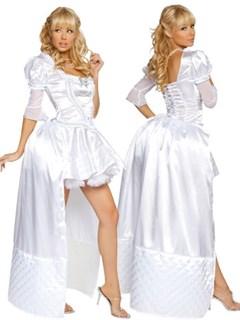 Маскарадный костюм белой королевы с длинным шлейфом
