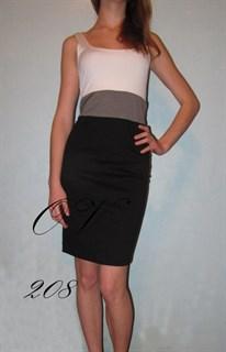Короткое черно-белое платье без рукавов 208
