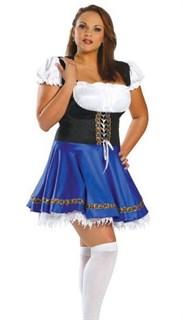 Маскарадный костюм деревенской девушки. Синий.