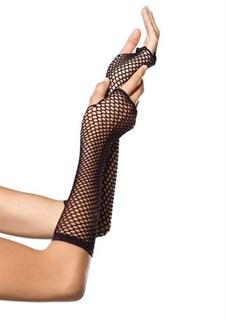 Черные короткие перчатки в сетку без пальцев