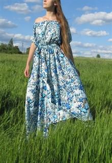 Голубое платье с бирюзовыми бабочками