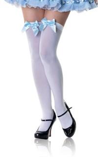Белые гетры с голубым бантом