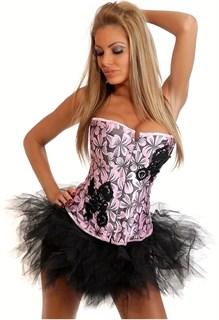 Розовый корсет в черными цветами и апликацией