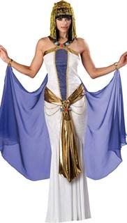 Белое платье Клеопатры с голубым шлейфом