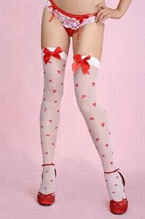 Белые мягкие чулки в сердечко с красным бантиком спереди