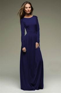 Синее платье в пол прямое классическое. 221